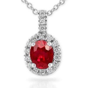 White Gold 14K Oval Shape Red Ruby Gem With 4.75 C